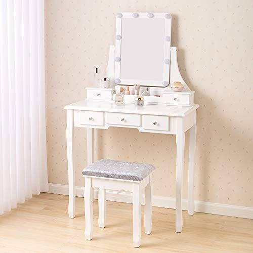 Lighted Mirror Makeup Dressing Table, Rotation Removable Mirror Dressing Vanity Table Makeup Desk With Stool White