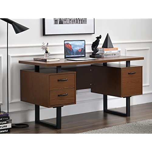 Office Desk With 3 Drawers, Double Desk Home Office With Drawers